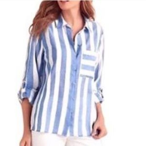 Soft Surroundings Blue Striped Button Down